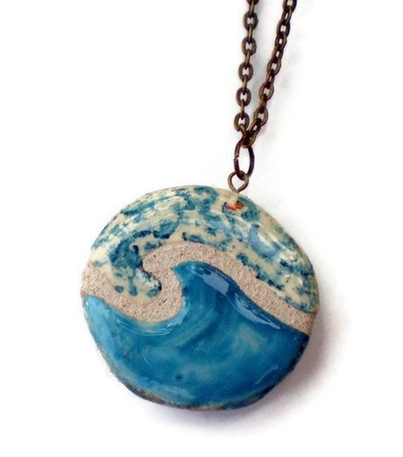 Ocean Wave Necklace : Mosaic Tile Reversible Pendant