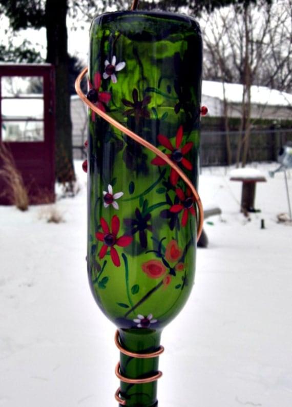 Recycled Wine Bottle Hummingbird Feeder Green