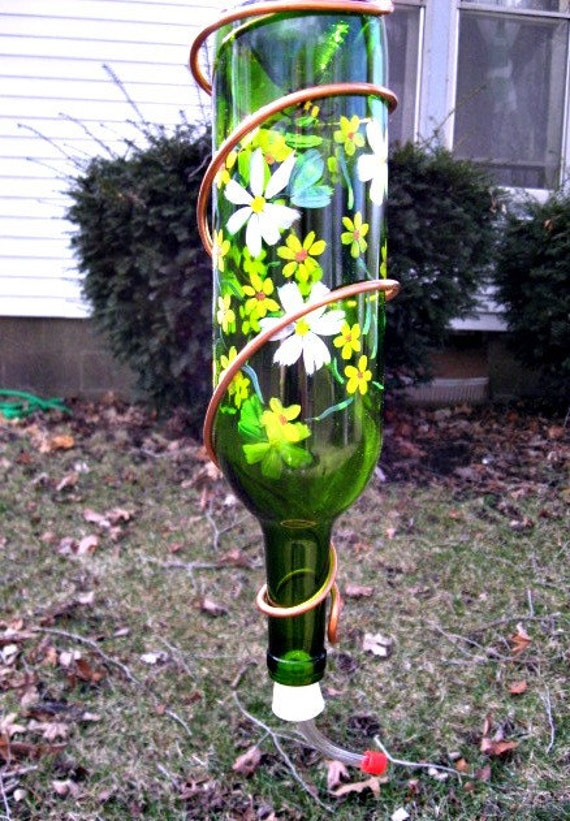 Recycled Wine Bottle Hummingbird Feeder Spring Time