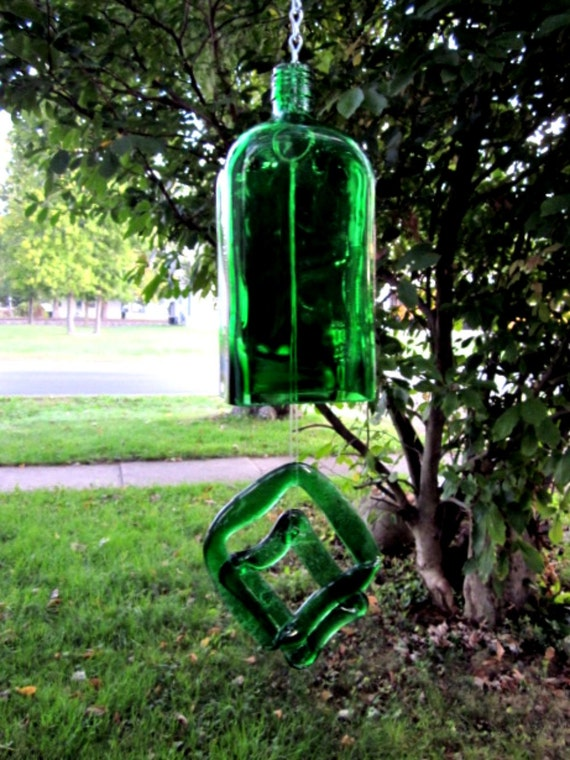 Wind chime recycled jagermeister bottle for Wind chimes from recycled materials