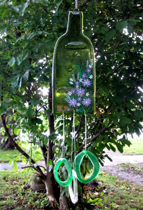 Wine bottle melted wind chime bright green recycled painted for Wind chimes from recycled materials