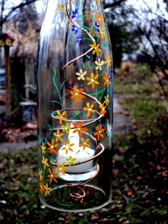 Wine bottle garden light hanging candle by glassgaloregal for Wine bottle patio lights