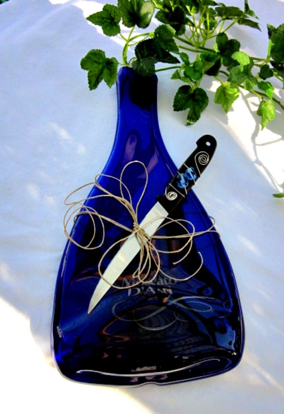 Wine Bottle Deep Blue, Recycled, Melted Wine Bottle Tray, Candle Holder
