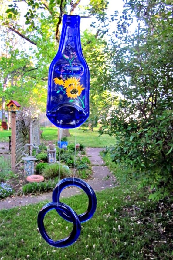 Blue Beer Bottle Wind Chime, Recycled, Eco Friendly Hand Painted