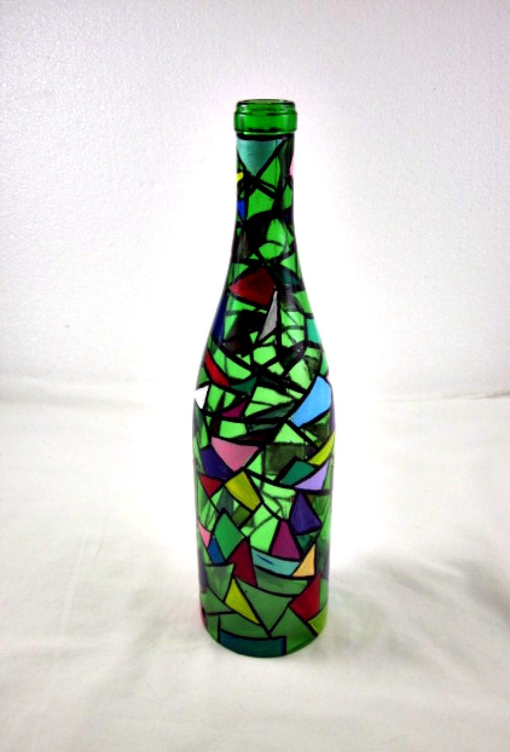 Recycled Wine Bottle Hurricane Lamp Faux Stained Glass