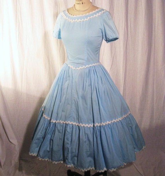 50s vintage Alice in Wonderland blue dress XS-S