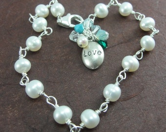"CUSTOM White Pearl ""Brag"" Bracelet for Lover/Mother/Grandmother/Family/Loved One by Screaming Peacock Jewelry"