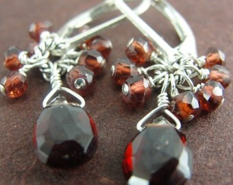 Petite Cluster Garnet Earrings from Screaming Peacock Jewelry