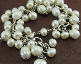 Feels Like Dancing - White Mixed Pearl Confetti Bracelet by Screaming Peacock Jewelry