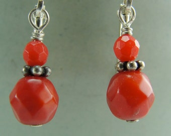 Faceted Coral Petite Drops Earrings by Screaming Peacock Jewelry
