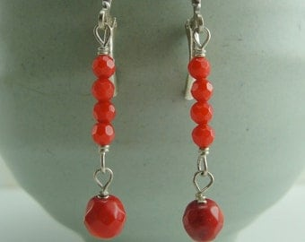 Coupon Code - Faceted Coral Stacked Dangle Earrings by Screaming Peacock Jewelry