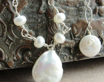 Natural White Petite Hand Wrought with Coin Pearl Necklace by Screaming Peacock Jewelry