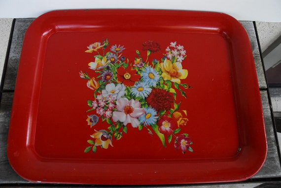 Vintage Red tole painted tray