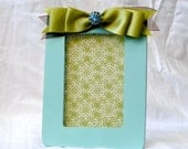Turquoise Wooden Picture Frame with Ribbon