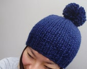 Pom Pom Toque, Navy winter hat, unisex