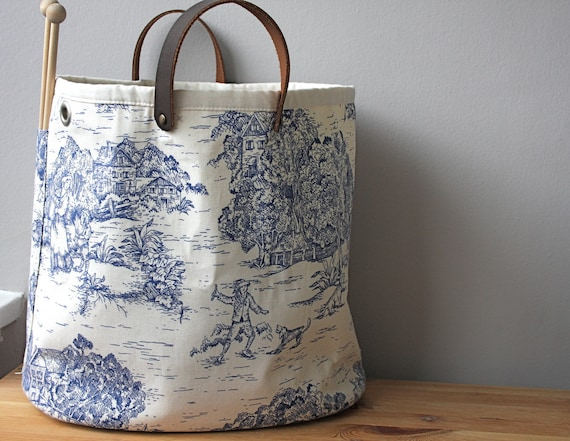 Knitting bag, blue toile (LAST ONE)