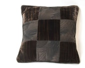 SALE Black Serenity Leaves Nine Patch Pillow