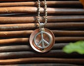 Stamped Copper Disk with Peace Sign Charm