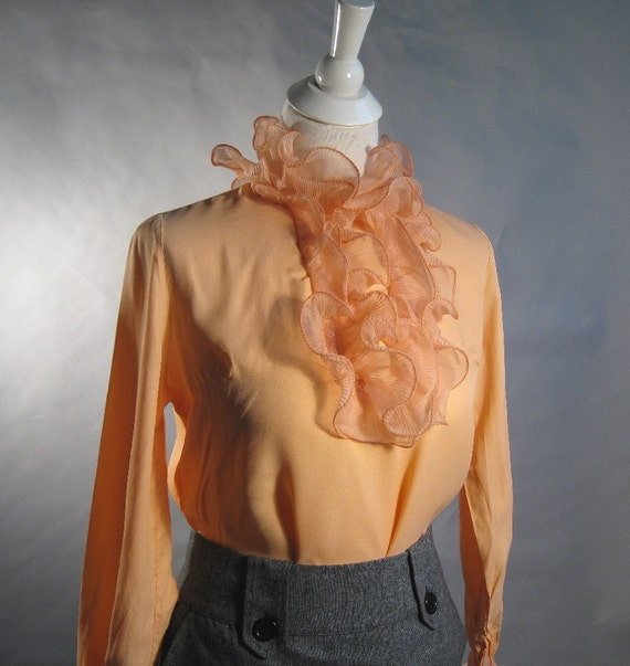 Creamsicle Ruffle Blouse. Secretary. Neo Victorian.  Peach. Size Medium to Large. Vintage