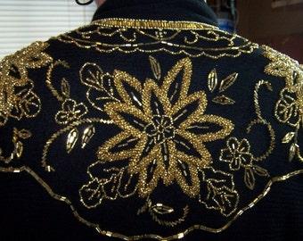 SALE  Vintage Beaded Shawl on Black Tulle