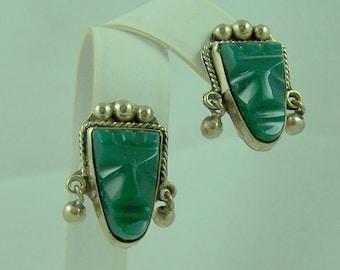 Vintage Mexican Silver Green Onyx Earrings-Screw Backs