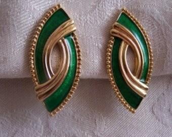 Vintage Green Enamel Earrings
