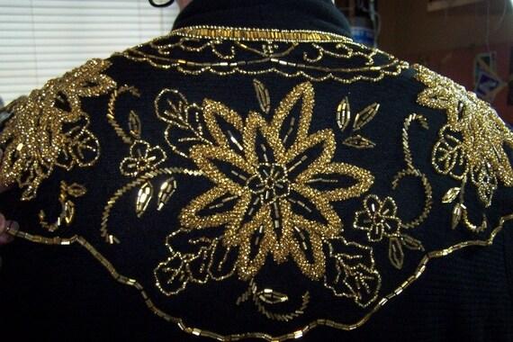 Vintage Beaded Shawl on Black Tulle