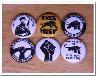 BLACK PANTHER buttons pins badges set Black Power / Black Panther Party / black consciousness /  BPP