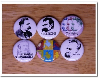 Friedrich NIETZSCHE buttons pins badges pinback philosophy,ubermensch,Thus Spoke Zarathustra,Will to power