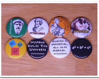 PYTHAGORAS pins buttons badges greek,mathematics,math,philosophy,Pythagorean theorem,
