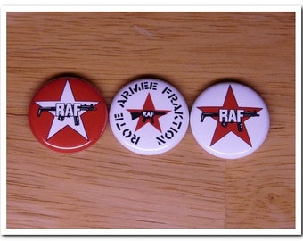 RAF Red Army Faction buttons pins badges pinback, marxist, 70's, germany, Rote Armee Fraktion,