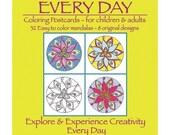 Mandala Art, Mandala Coloring Postcard Set - for adults and children