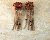 """Handcrafted Black & Orange Bead Embroidered Statement Fringed Surgical Steal Post Earrings """"Orangeade"""" w/Tan Handcut Beaded Leather Fringe"""