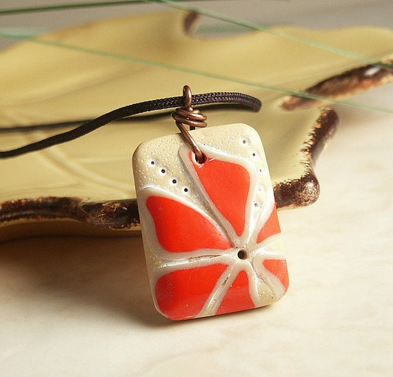 Handmade Polymer Clay Tile Pendant Featuring Red Flower