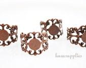 Filigree Ring Blanks - 4pcs - Red Copper