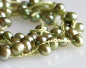 Green Silk Long Crocheted Necklace with Pistachio Green Pearls or Wrap Bracelet