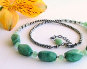 Cool Minty Green Glass and Chrysoprase Necklace with Special Silver Chain, Green Necklace, Gardener, Nature, Summer Fashion