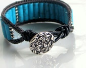 Quarry Blue Cuff, Blue Stones with Charcoal Silk & Black Leather cuff or bracelet