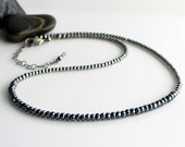 Gray Stone Choker Necklace, Dark Gray Sparkly Hematite on an Oxidized Beaded Sterling Chain, Dark Choker Stone and Silver - WillOaksStudio