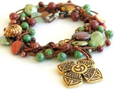 Crochet Beaded Yoga Jewelry Silk Chain with Pendant, Old Cross or Om Pendant and Mixed Materials, Earthy Colors Long Silk Chain