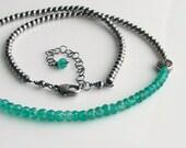 Emerald Green Celtic Symbols Choker, Green Stones Sterling Chain, Oxidized Sterling Beaded Chain & Green Onyx, Irish Green, May Birthday