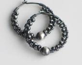 Textured Silver Hoop Earrings, Handmade Oxidized Sterling Hoops with Large Silver Bead, Textured Earrings, Everyday Hoop Earrings