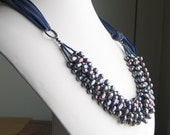 Peacock Pearl Bib, READY TO SHIP, Clustered Blue Gray Pearl Necklace, Pearl Statement, Multistrand Pearls on Silk Ribbon, Deluxe Gift