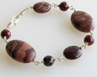 Stone and Silver Bracelet in Natural Shades of Maroon Mauve and Brown, Linked Marble Jasper and Obsidian Cuff