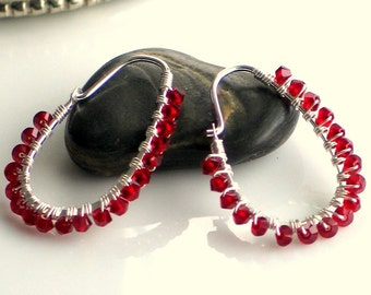 Red Crystal Wrapped Sterling Silver Hoop Earrings, Oval Hoops, Red Earrings, Pop of Red, Gift for Her, Valentines Present