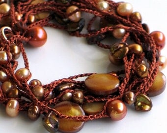 Autumn Colors Crocheted Pearl and Bead Necklace or Wrap Cuff on Brown Silk Chain
