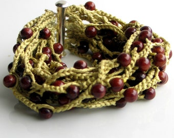 Crocheted Beaded Cuff, Silk Cuff Bracelet with Brown Bamboo Coral Beads, Pantone Color Bamboo, Fresh Original Artisan Cuff