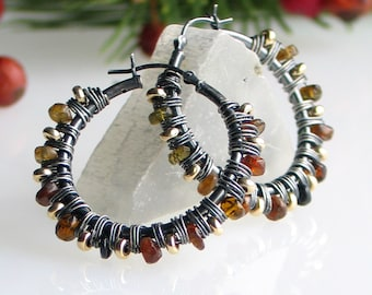 Tourmaline Hoop Earrings, Nature Color Earrings, OOAK Gemstone Wrapped Oxidized Sterling Earrings with Latchback