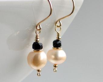 White Pearl Black Spinel Gold Earrings, Black and White Freshwater Pearl Earrings, Gold Filled Drop Earrings, Black Tie