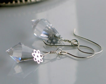 Silver Snowflake Dangle Earrings, Clear Crystal Prism and Sterling Winter Jewelry, Real Prism, Artisan Handmade, Affordable Fun Gift